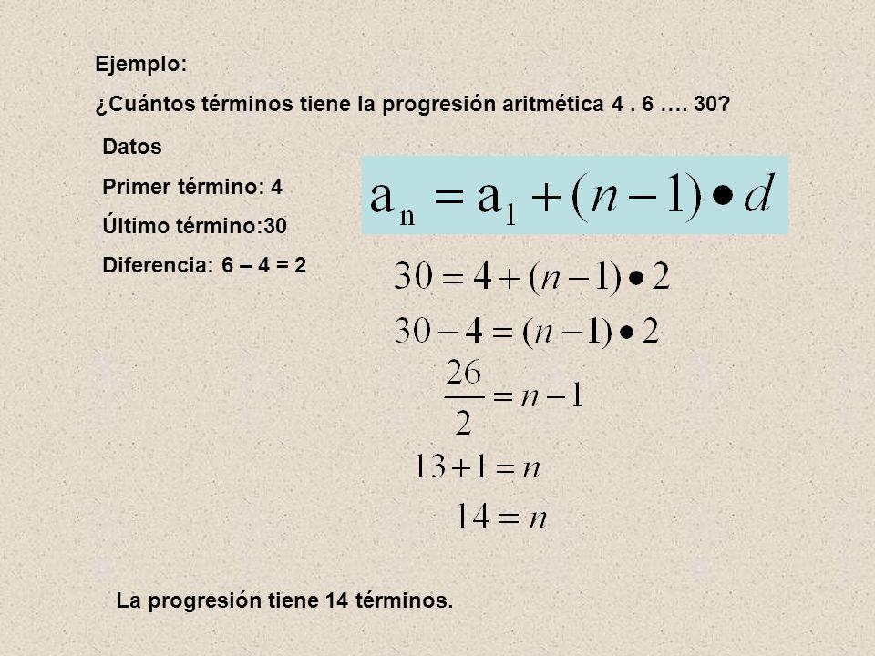 Ejemplo: ¿Cuántos términos tiene la progresión aritmética 4 . 6 …. 30 Datos. Primer término: 4. Último término:30.