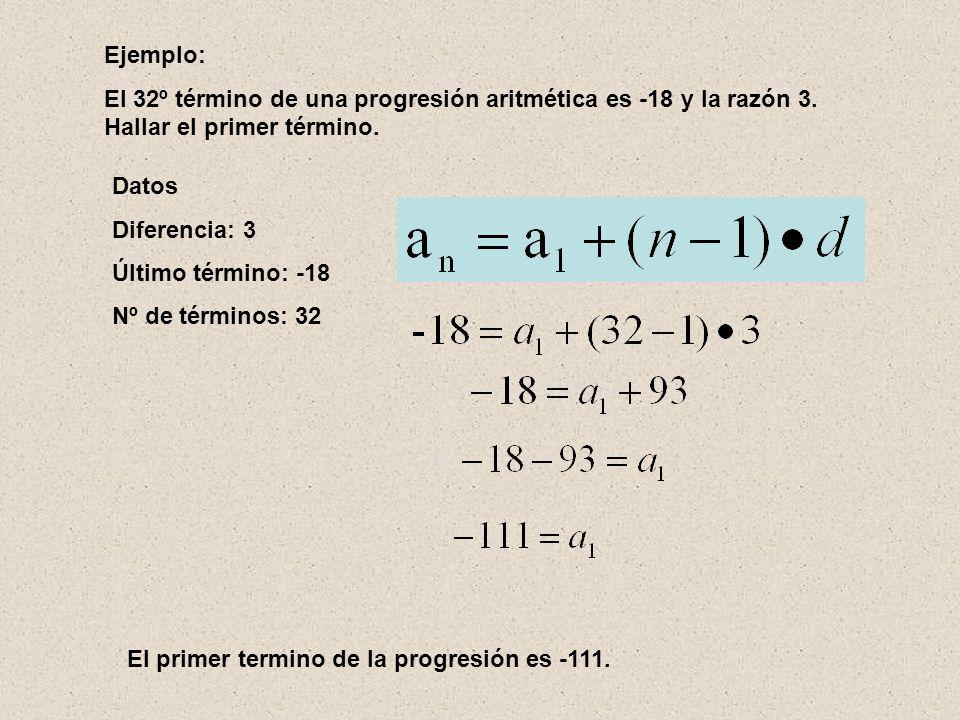 Ejemplo: El 32º término de una progresión aritmética es -18 y la razón 3. Hallar el primer término.
