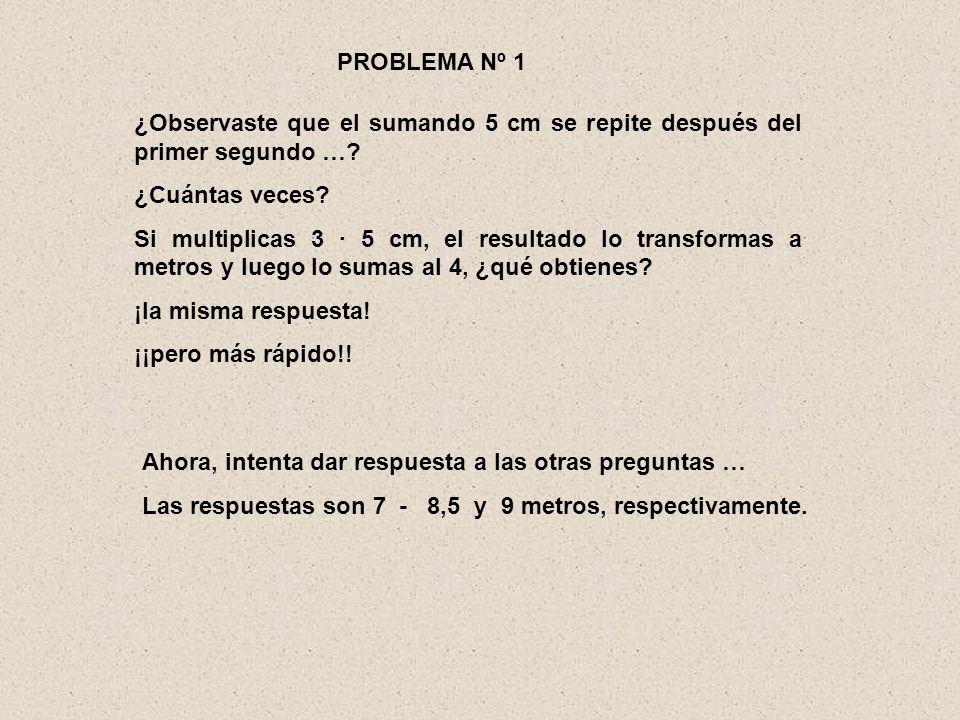 PROBLEMA Nº 1 ¿Observaste que el sumando 5 cm se repite después del primer segundo … ¿Cuántas veces