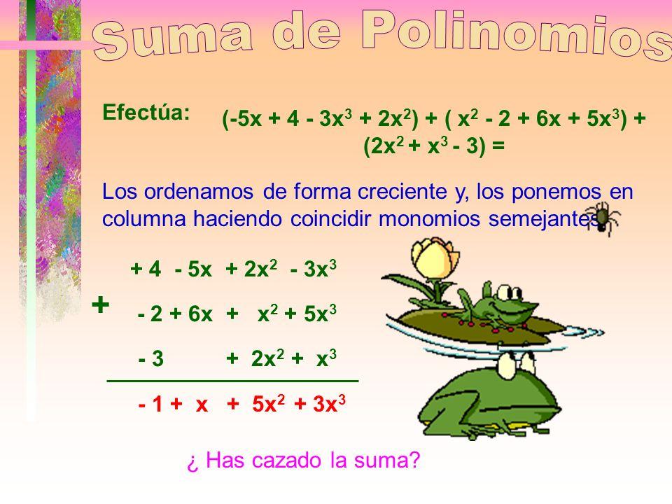 (-5x + 4 - 3x3 + 2x2) + ( x2 - 2 + 6x + 5x3) + (2x2 + x3 - 3) =
