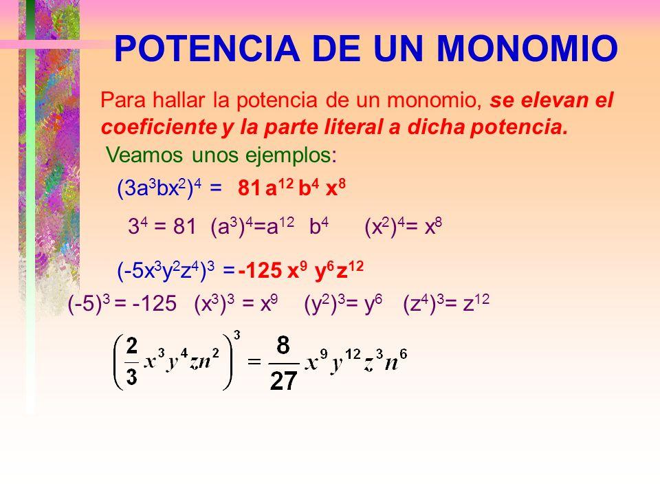 POTENCIA DE UN MONOMIOPara hallar la potencia de un monomio, se elevan el coeficiente y la parte literal a dicha potencia.