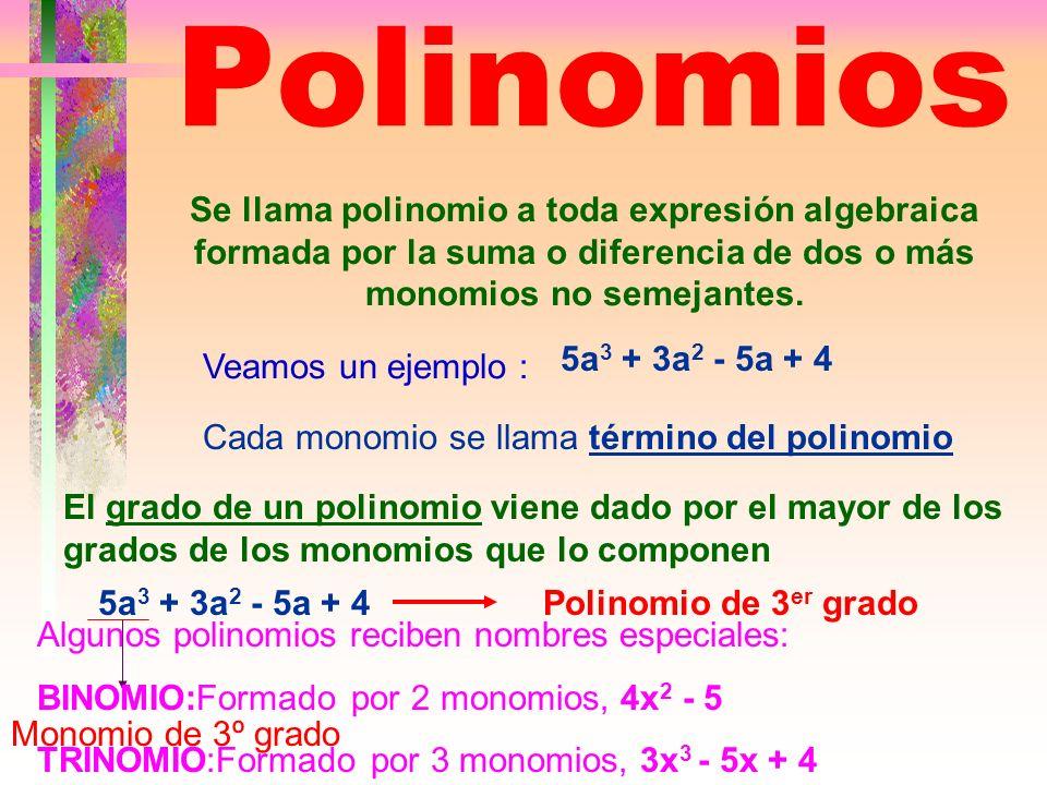 Polinomios Se llama polinomio a toda expresión algebraica formada por la suma o diferencia de dos o más monomios no semejantes.