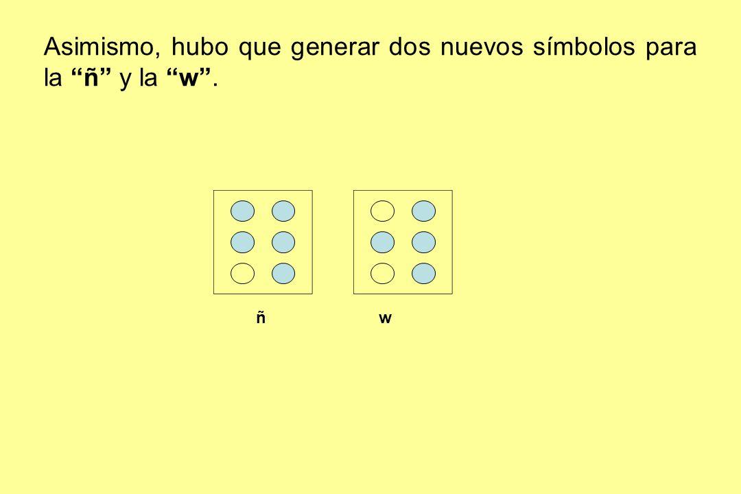 Asimismo, hubo que generar dos nuevos símbolos para la ñ y la w .