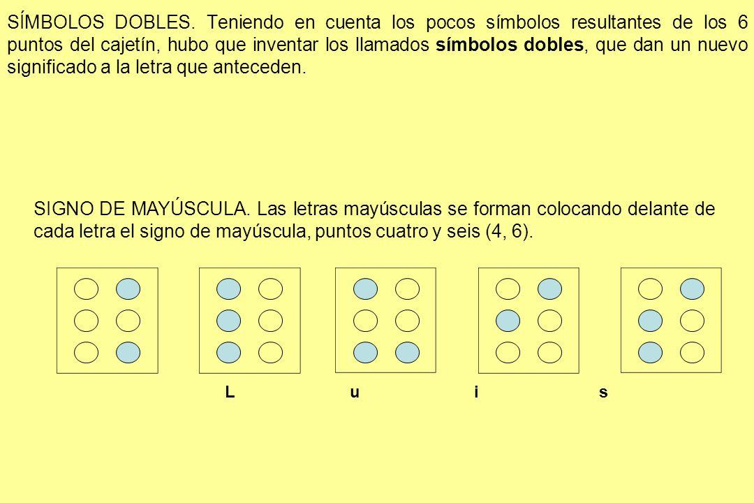 SÍMBOLOS DOBLES. Teniendo en cuenta los pocos símbolos resultantes de los 6 puntos del cajetín, hubo que inventar los llamados símbolos dobles, que dan un nuevo significado a la letra que anteceden.