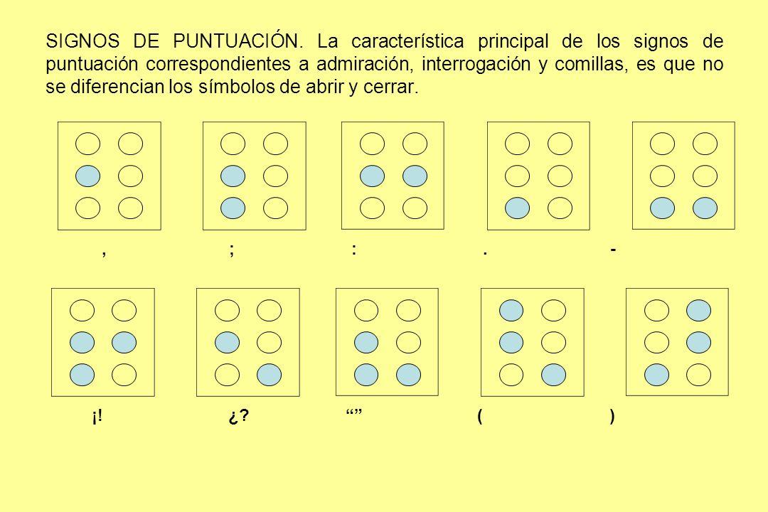 SIGNOS DE PUNTUACIÓN. La característica principal de los signos de puntuación correspondientes a admiración, interrogación y comillas, es que no se diferencian los símbolos de abrir y cerrar.