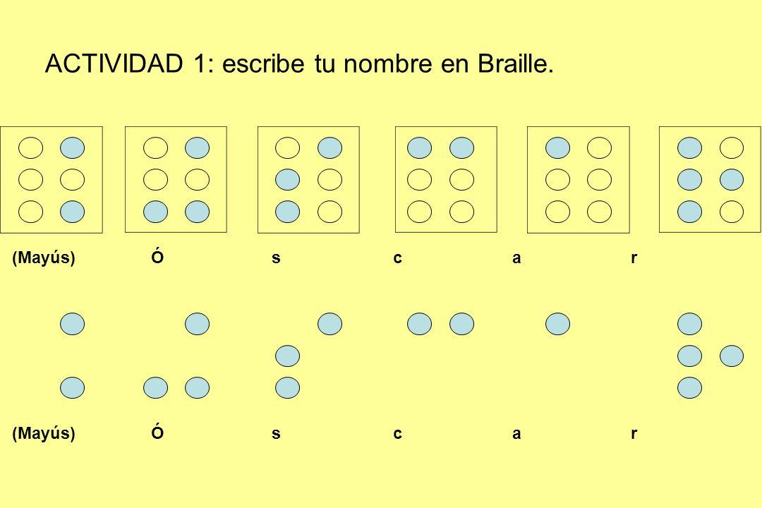 ACTIVIDAD 1: escribe tu nombre en Braille.