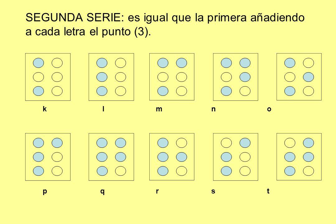SEGUNDA SERIE: es igual que la primera añadiendo a cada letra el punto (3).