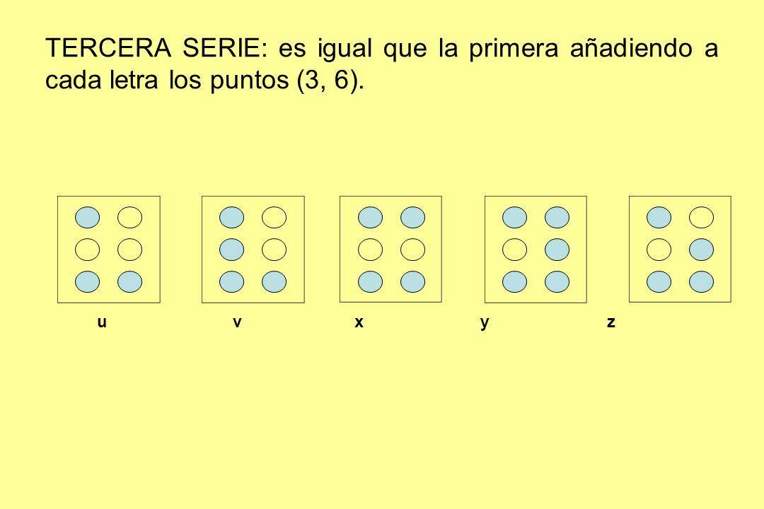 TERCERA SERIE: es igual que la primera añadiendo a cada letra los puntos (3, 6).