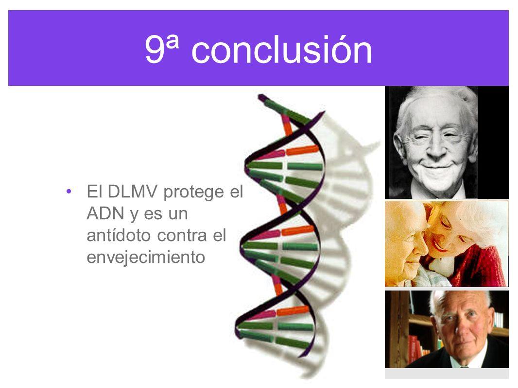 9ª conclusión El DLMV protege el ADN y es un antídoto contra el envejecimiento.
