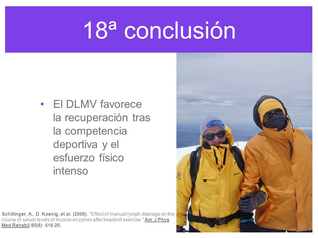 18ª conclusión El DLMV favorece la recuperación tras la competencia deportiva y el esfuerzo físico intenso.