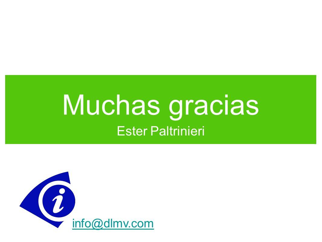 Muchas gracias Ester Paltrinieri info@dlmv.com