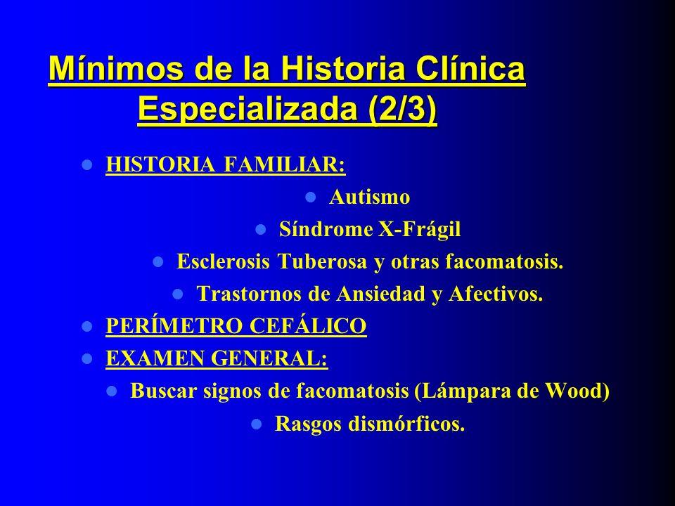 Mínimos de la Historia Clínica Especializada (2/3)