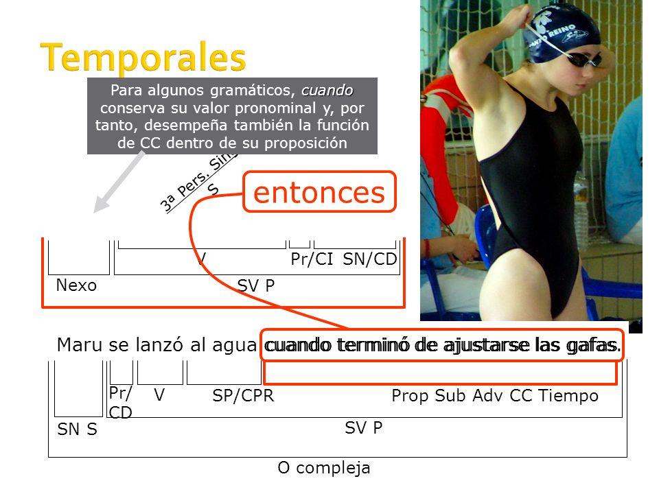 Temporales Para algunos gramáticos, cuando conserva su valor pronominal y, por tanto, desempeña también la función de CC dentro de su proposición.
