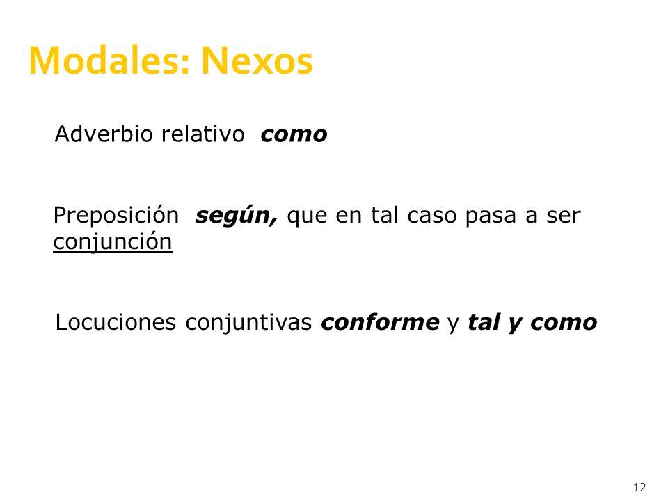 Modales: Nexos Adverbio relativo como