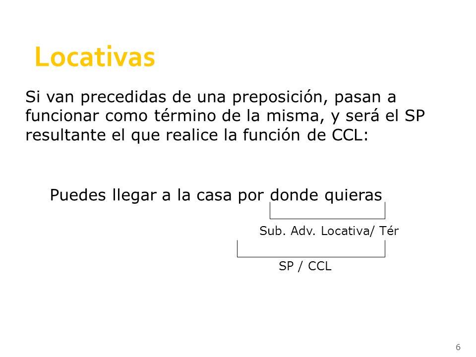 Locativas Si van precedidas de una preposición, pasan a funcionar como término de la misma, y será el SP resultante el que realice la función de CCL: