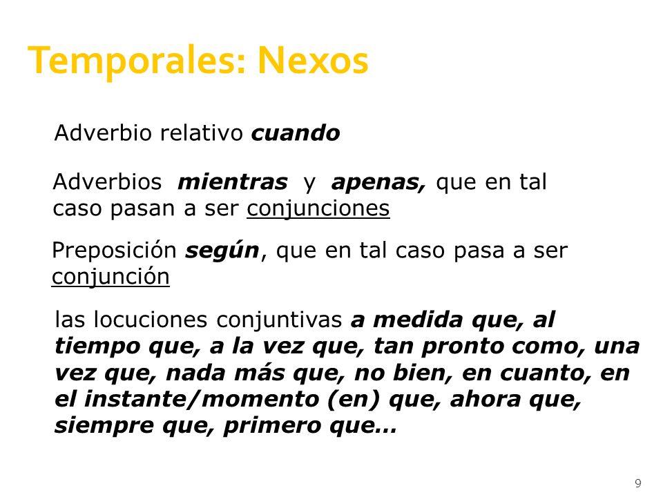 Temporales: Nexos Adverbio relativo cuando