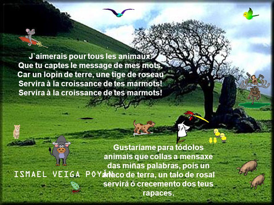 J`aimerais pour tous les animaux. Que tu captes le message de mes mots