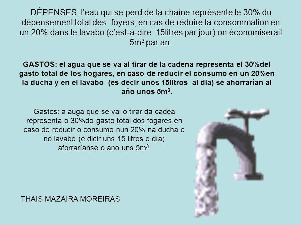 DÉPENSES: l'eau qui se perd de la chaîne représente le 30% du dépensement total des foyers, en cas de réduire la consommation en un 20% dans le lavabo (c'est-à-dire 15litres par jour) on économiserait 5m3 par an.