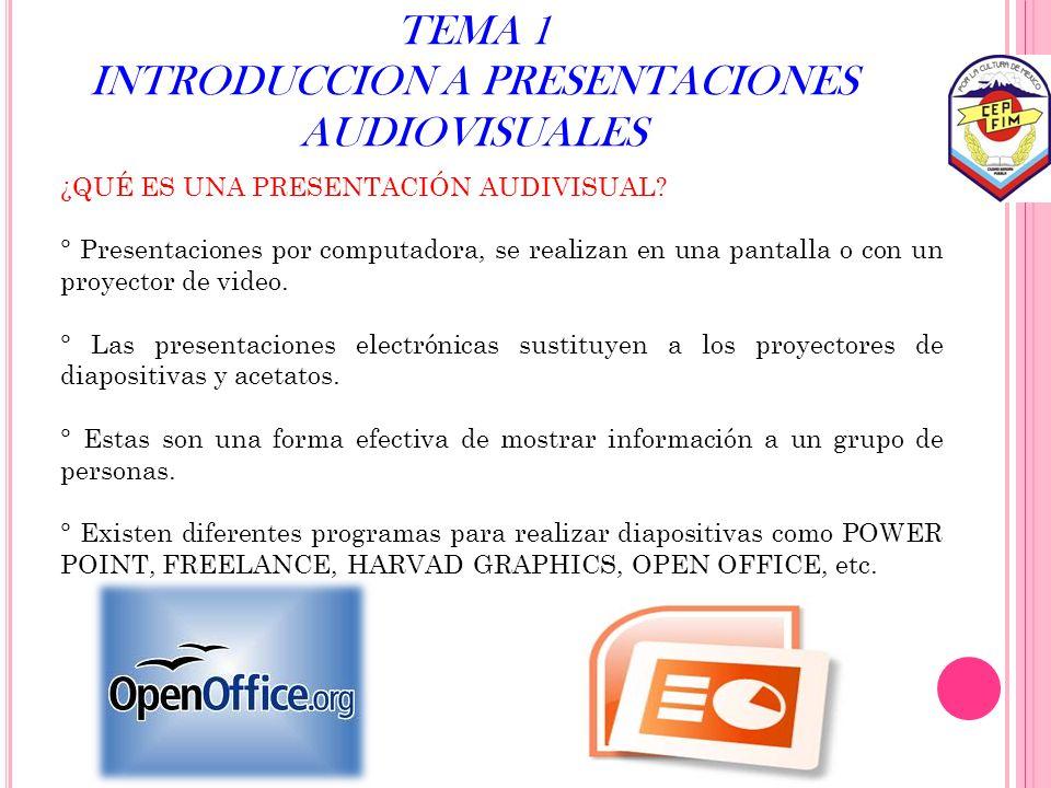 TEMA 1 INTRODUCCION A PRESENTACIONES AUDIOVISUALES