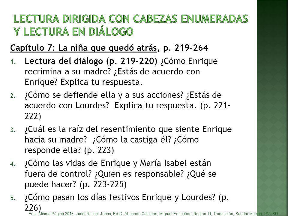 LECTURA DIRIGIDA CON CABEZAS ENUMERADAS y lectura en diálogo
