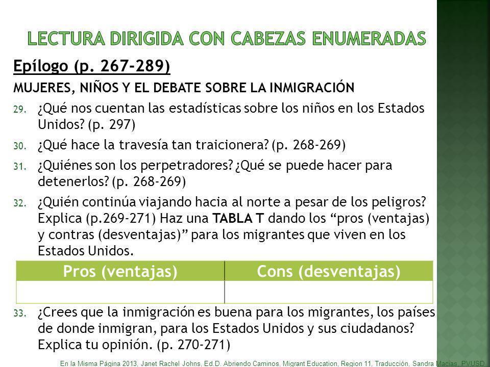 LECTURA DIRIGIDA CON CABEZAS ENUMERADAS