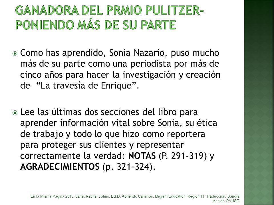 GANADORA DEL PRMIO PULITZER-PONIENDO MÁS DE SU PARTE