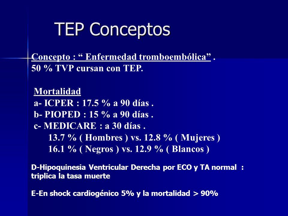 TEP Conceptos Concepto : Enfermedad tromboembólica .