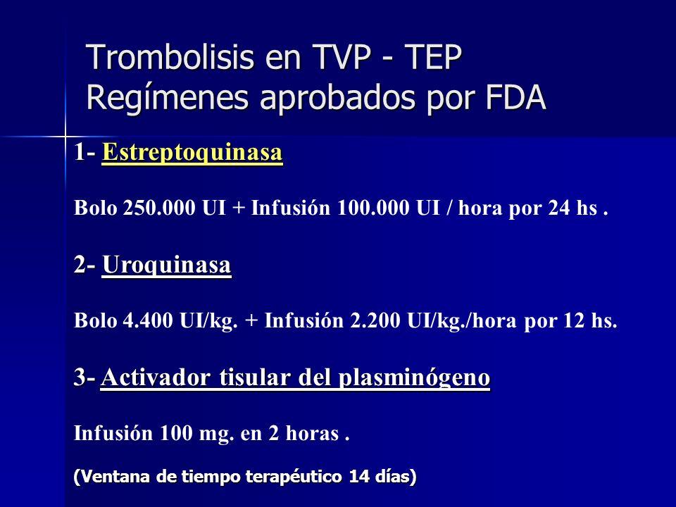 Trombolisis en TVP - TEP Regímenes aprobados por FDA