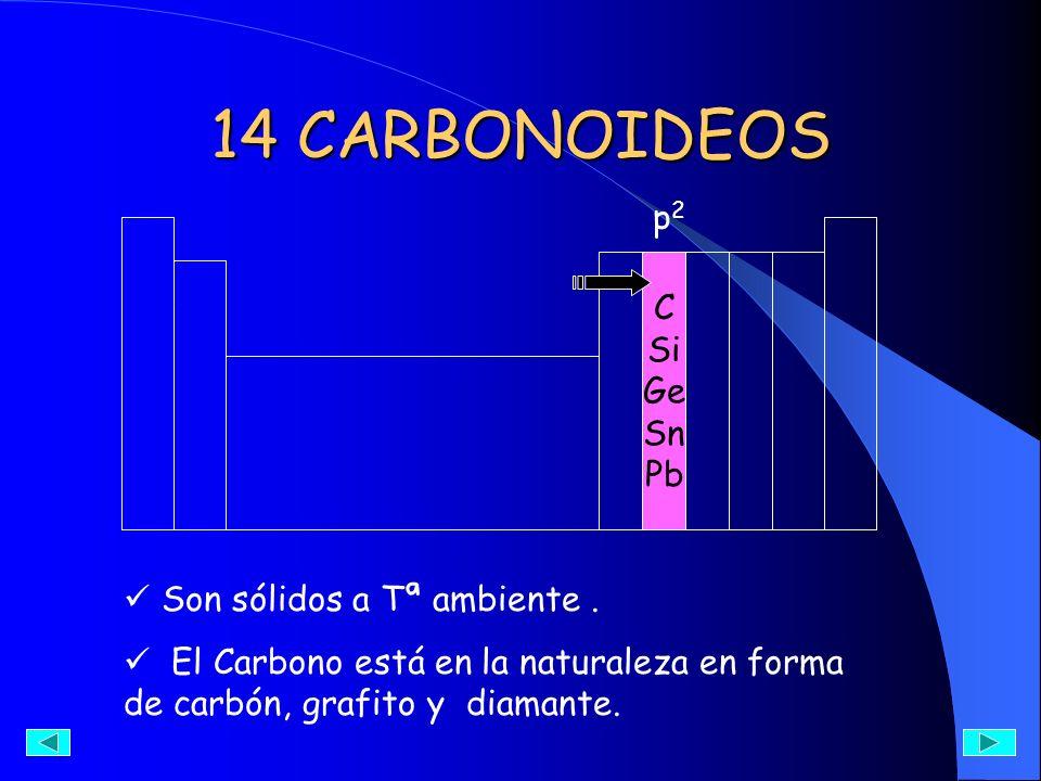 14 CARBONOIDEOS p2 C Si Ge Sn Pb Son sólidos a Tª ambiente .