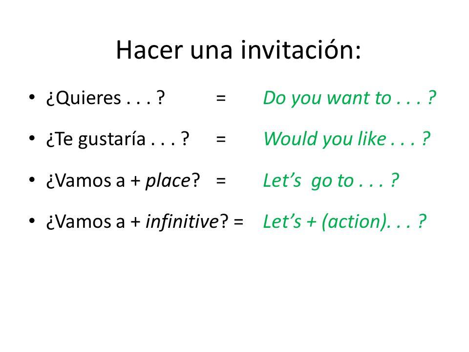 Hacer una invitación: ¿Quieres . . . = Do you want to . . .