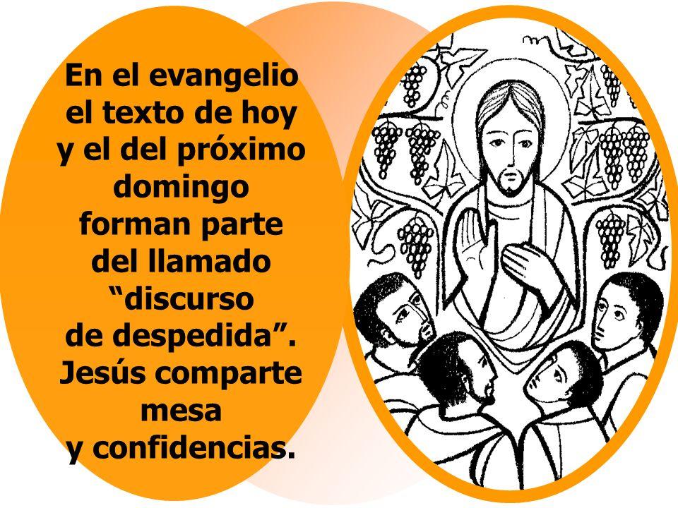 En el evangelio el texto de hoy y el del próximo domingo forman parte del llamado discurso de despedida .