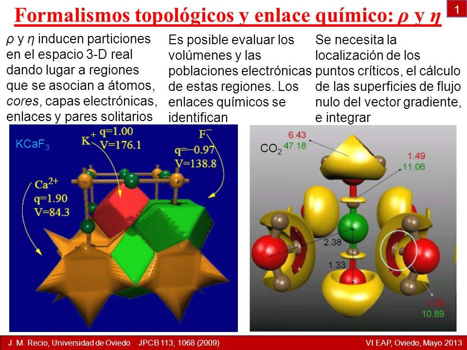 Formalismos topológicos y enlace químico: ρ y η