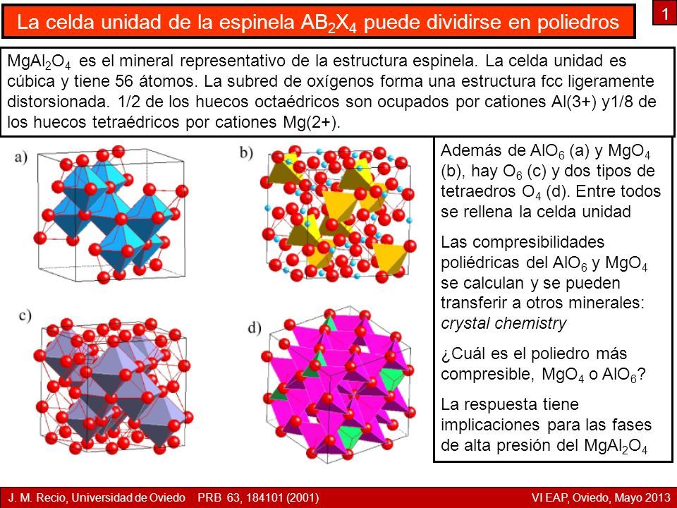 La celda unidad de la espinela AB2X4 puede dividirse en poliedros