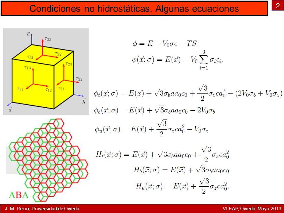 Condiciones no hidrostáticas. Algunas ecuaciones