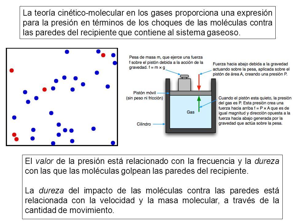 La teoría cinético-molecular en los gases proporciona una expresión para la presión en términos de los choques de las moléculas contra las paredes del recipiente que contiene al sistema gaseoso.