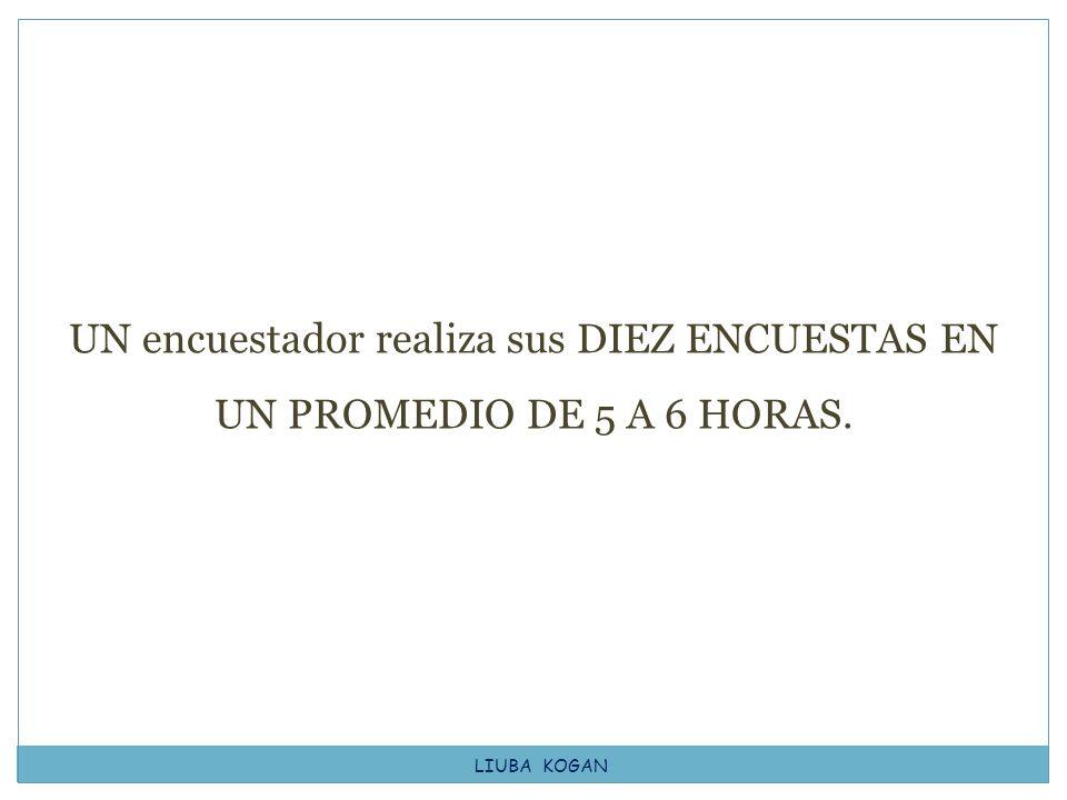UN encuestador realiza sus DIEZ ENCUESTAS EN UN PROMEDIO DE 5 A 6 HORAS.