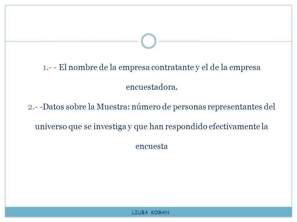 1.- - El nombre de la empresa contratante y el de la empresa encuestadora. 2.- -Datos sobre la Muestra: número de personas representantes del universo que se investiga y que han respondido efectivamente la encuesta