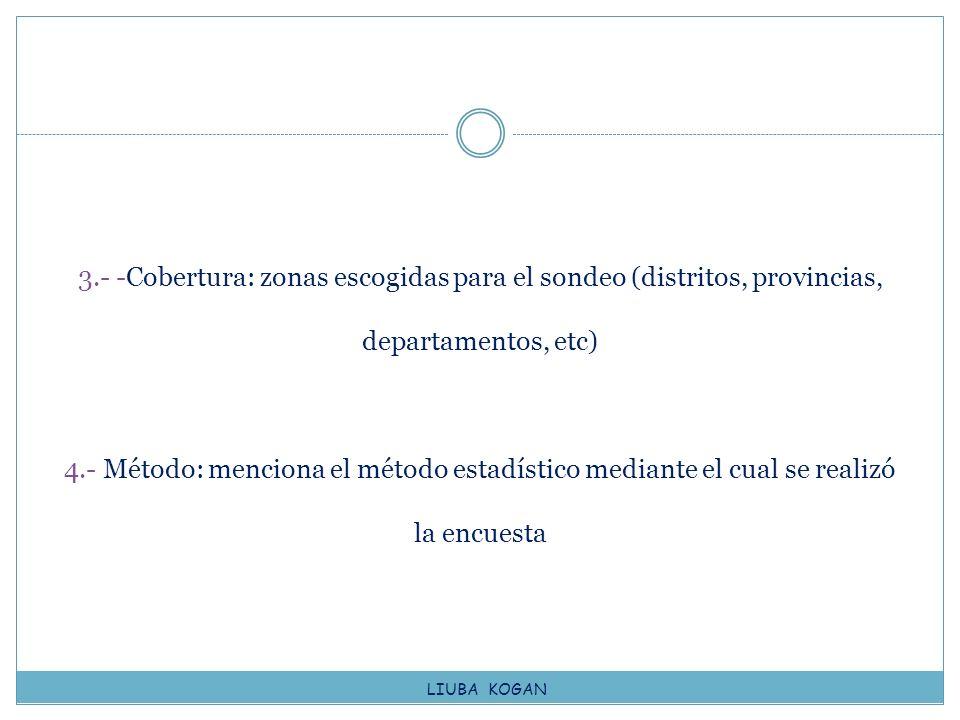 3.- -Cobertura: zonas escogidas para el sondeo (distritos, provincias, departamentos, etc) 4.- Método: menciona el método estadístico mediante el cual se realizó la encuesta