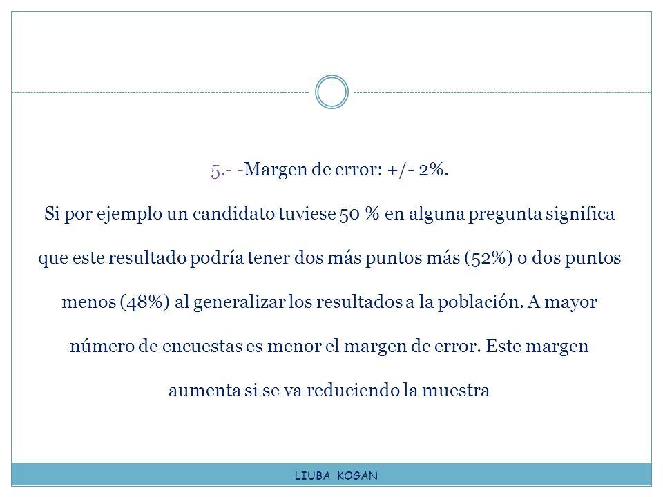 5. - -Margen de error: +/- 2%