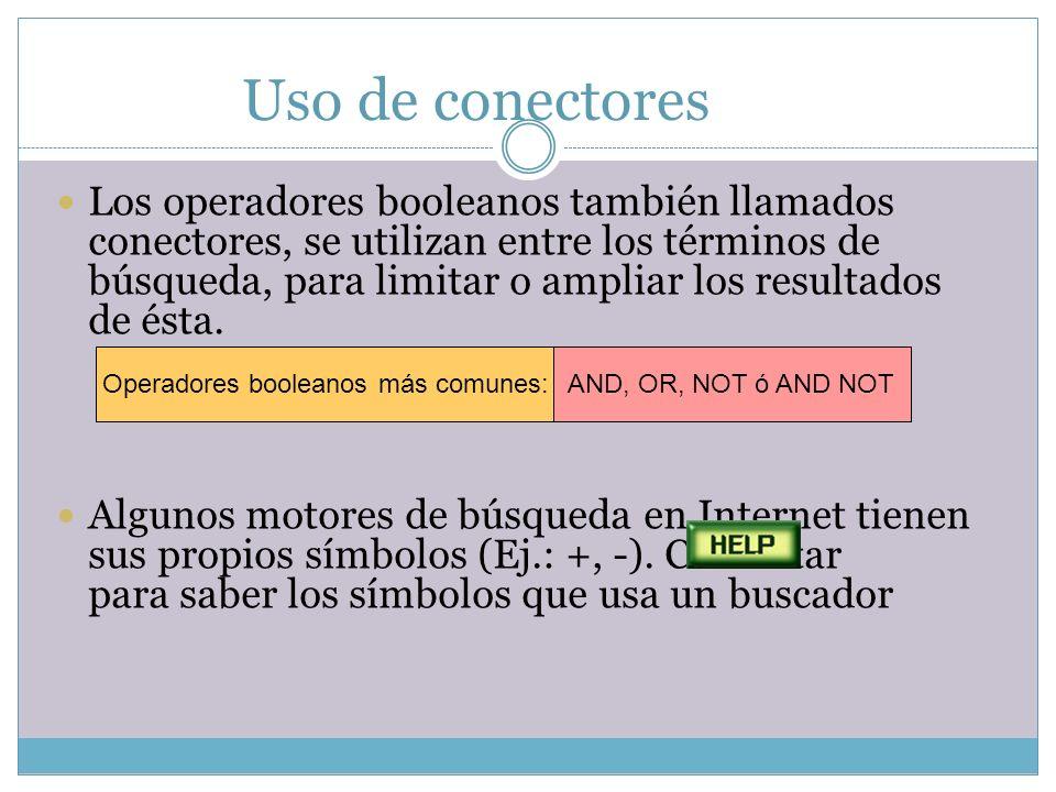 Operadores booleanos más comunes:
