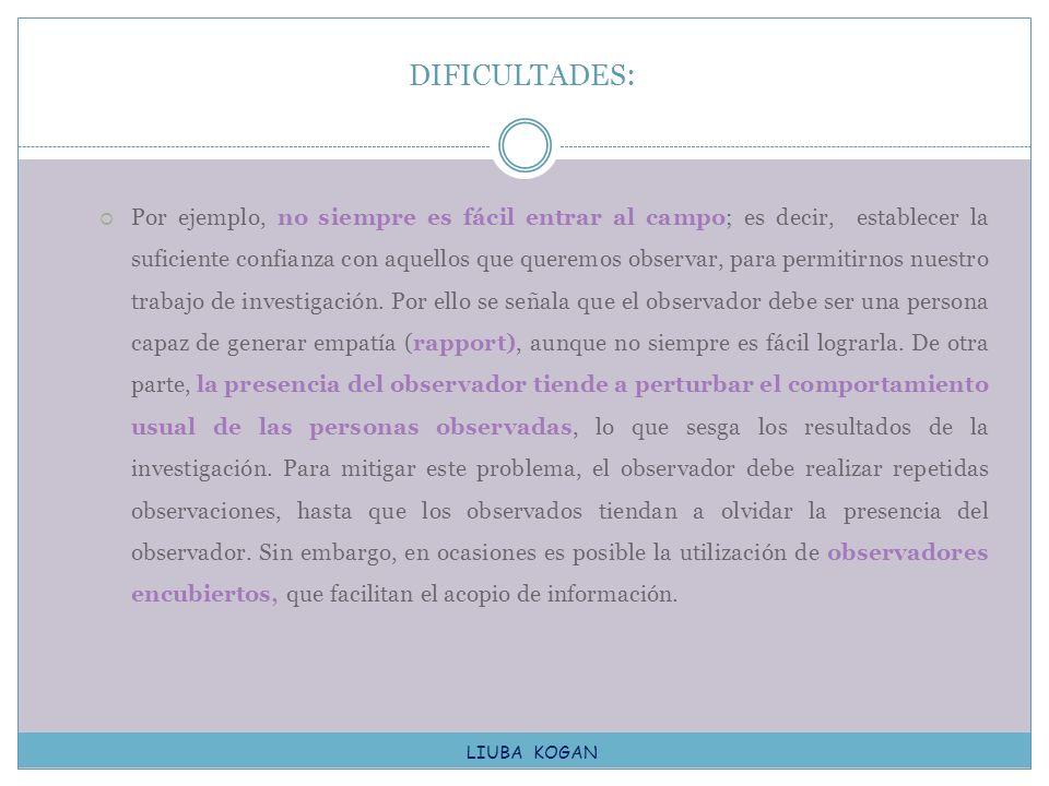 DIFICULTADES:
