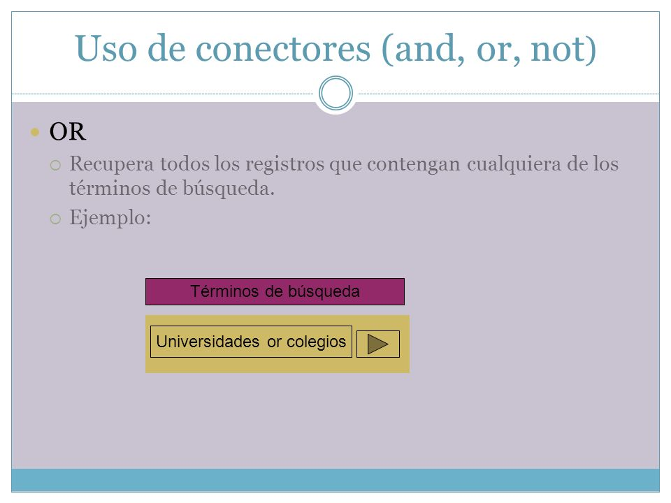 Uso de conectores (and, or, not)
