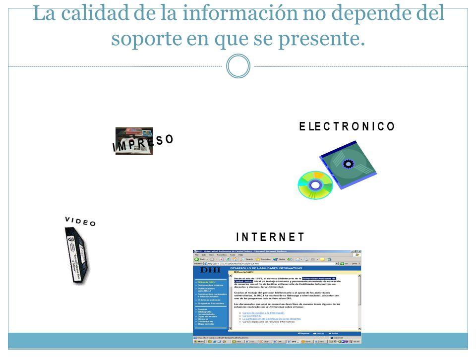 La calidad de la información no depende del soporte en que se presente.