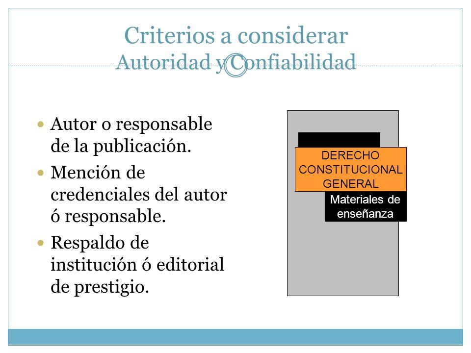 Criterios a considerar Autoridad y Confiabilidad