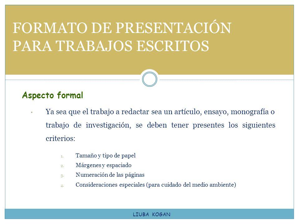 FORMATO DE PRESENTACIÓN PARA TRABAJOS ESCRITOS