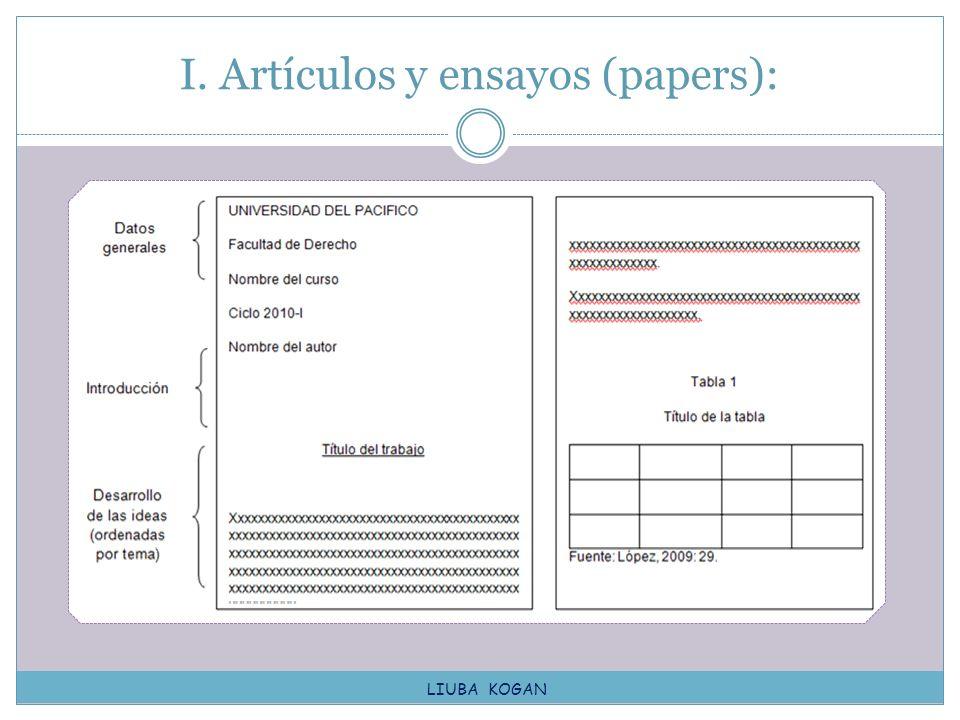 I. Artículos y ensayos (papers):