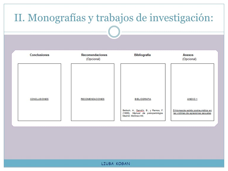 II. Monografías y trabajos de investigación: