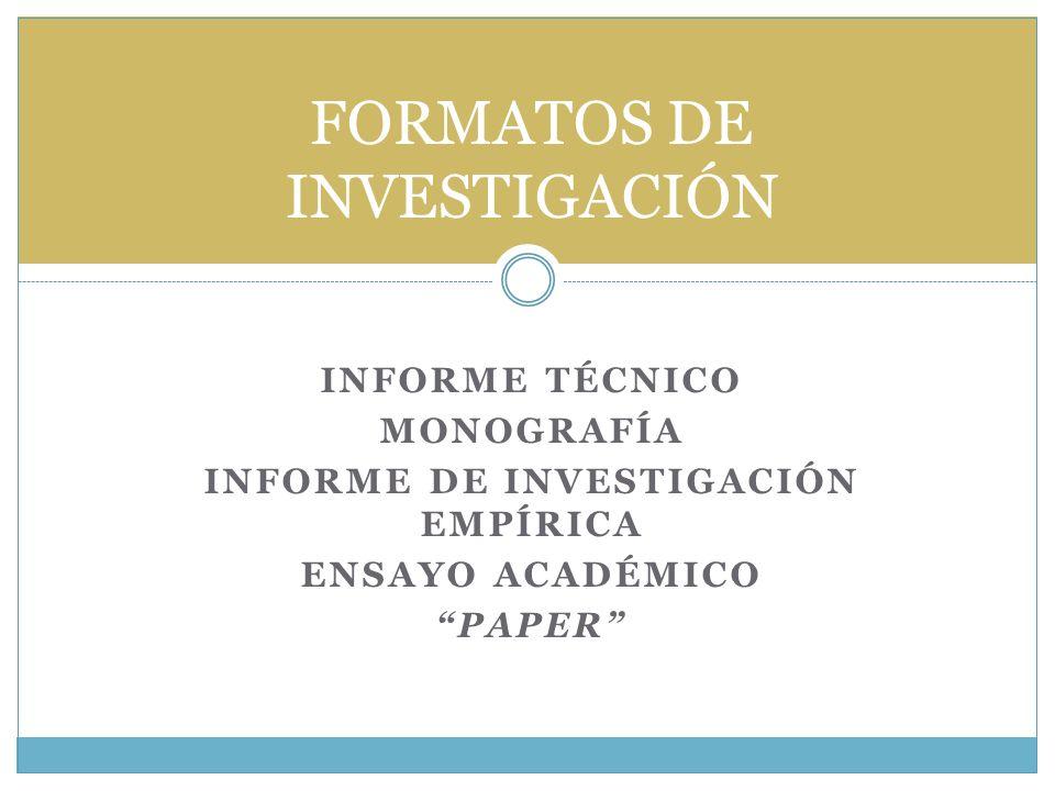 FORMATOS DE INVESTIGACIÓN