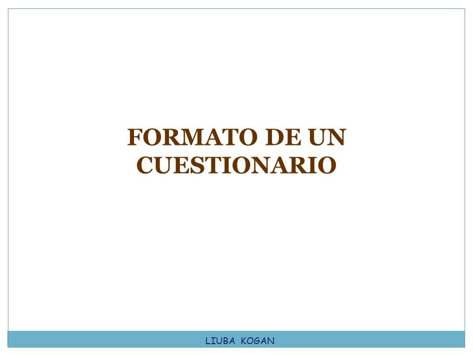 FORMATO DE UN CUESTIONARIO