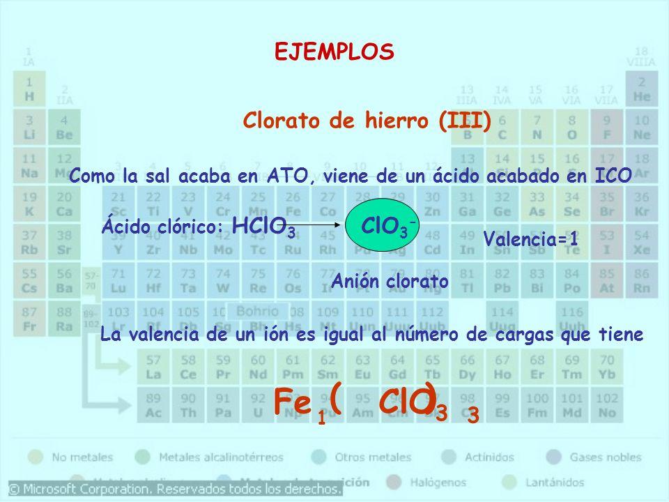 ( ) Fe ClO3 EJEMPLOS Clorato de hierro (III) ClO3- 3